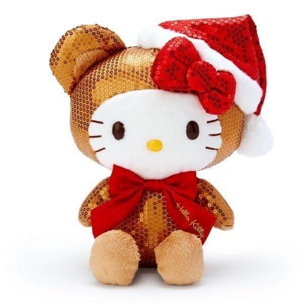 Hello Kitty 亮片絨毛玩偶娃娃《M.棕》聖誕娃娃.擺飾.2019聖誕系列