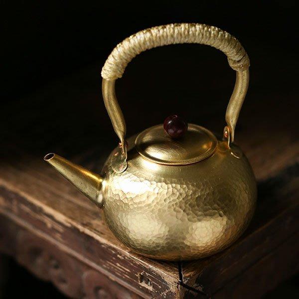 5Cgo【茗道】含稅會員有優惠 54899432967 純銅手工錘紋側把銅壺紫銅壺茶壺茶杯泡茶煮水壺煮茶壺炭爐電陶爐茶壺