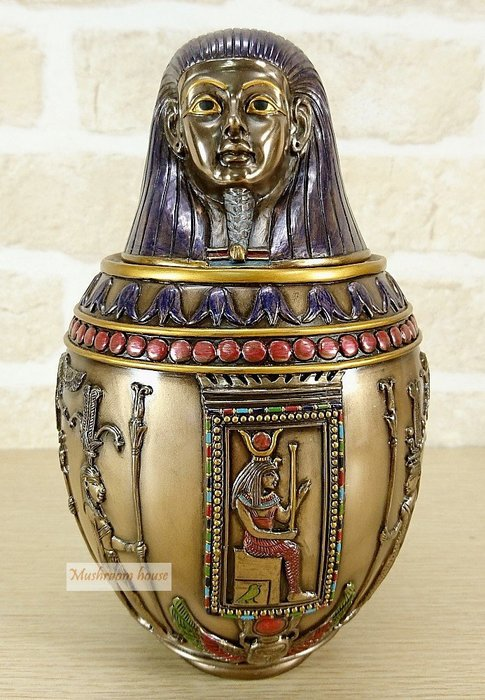 點點蘑菇屋 歐洲精品~埃及仿銅法老頭卡諾皮克罐 卡諾卜罈 卡諾波罐 擺飾 古埃及文明 埃及古文 圖騰 藝術品 免運費