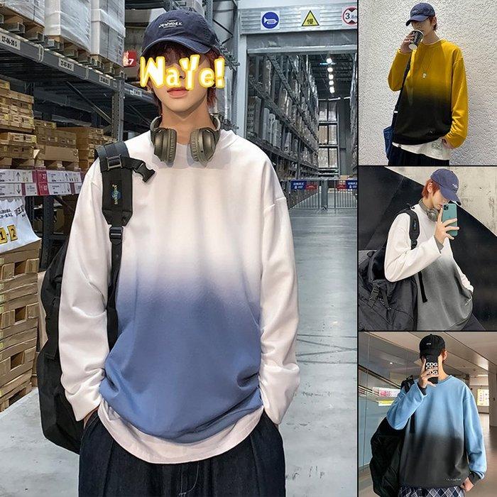 拉風閣 M-4XL 爆!港風衛衣男長袖T恤 衛衣 男漸變色春秋款韓版潮流上衣2020 男裝