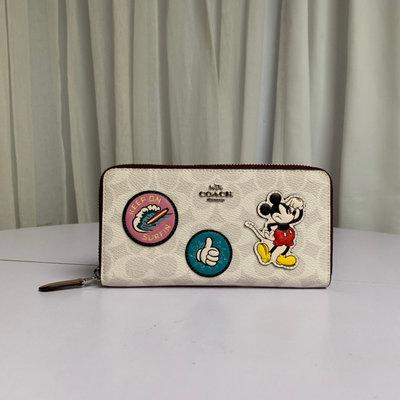 ㊣國際品牌COACH庫㊣美國代購COACH 3778【2件免運】新款迪士尼合作款 時尚米奇圖案皮夾 長夾 錢包手拿包