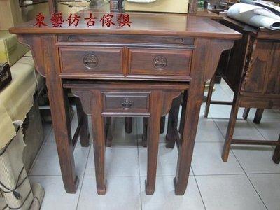 東藝仿古傢俱~~~雞翅木三尺半方腳拉板神桌106*60*106公分一套