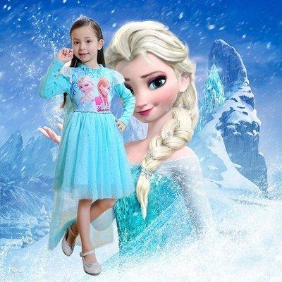•*~ 辣媽咪衣飾小舖 ~*•❤童裝系列❤N870401冰雪奇緣加絨加厚純棉艾莎禮服裙