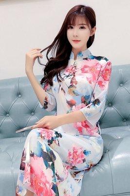 購三件免運~阿信服飾網[小中大尺碼]JK9978牡丹花中國風中袖長款印花雪紡改良式旗袍洋裝~預購