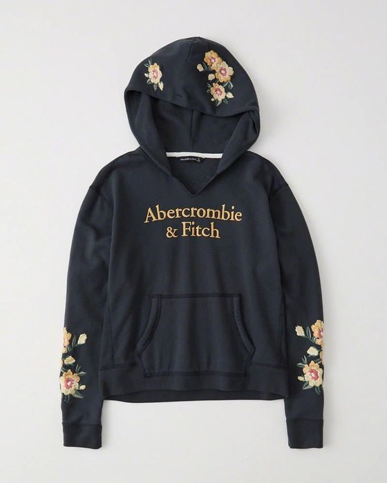 Maple麋鹿小舖 Abercrombie&Fitch * AF 深藍色電繡花花連帽長T * ( 現貨M號 )