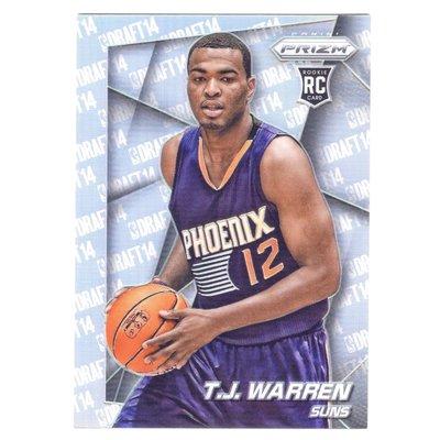 銀亮!(RC) 溜馬明星前鋒 T.J. Warren 漲翻Prizm Silver Rookie Variation系列銀亮新人RC金屬卡 2014-16