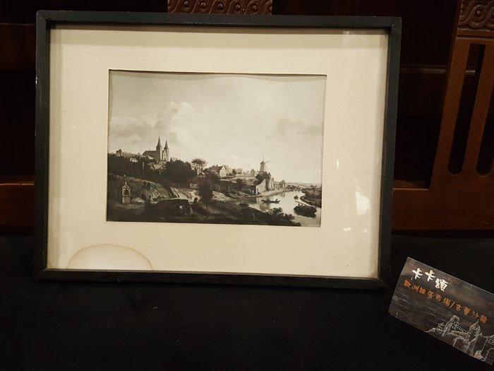 【卡卡頌 歐洲跳蚤市場/歐洲古董】歐洲老件_荷蘭 阿姆斯特丹 港口 風景 複製畫 老掛畫 pa0136