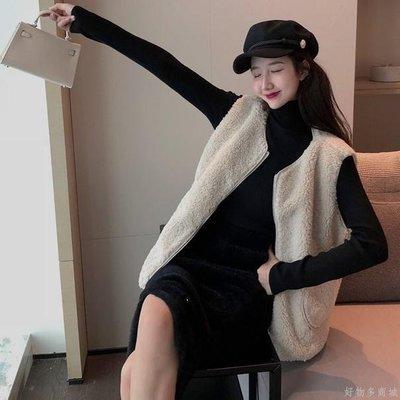 好物多商城 秋裝新款仿羊羔毛馬甲+高領打底衫+半身裙三件套時尚套裝女裝
