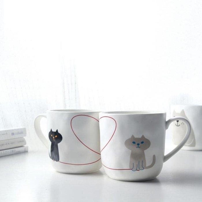 (全場免運)喵趣陶瓷水杯 馬克杯學生簡約創意帶貓勺 情侶可愛杯子辦公咖啡杯~『八佰伴居家館』