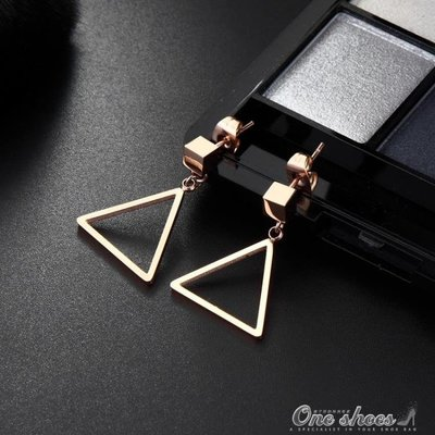 正韓簡約三角形耳環 女氣質韓國個性長耳墜個性幾何耳飾鍍彩金
