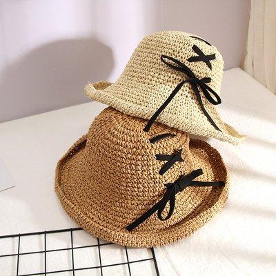 草帽盆帽-綁帶百搭可摺疊遮陽女帽子2色73vq21[獨家進口][米蘭精品]