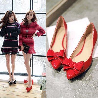春季新款真皮尖頭小紅鞋中跟單鞋女紅色婚鞋淺口新娘鞋低跟瓢鞋子