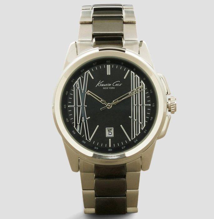 全新美國品牌 Kenneth Cole 黑色錶面銀黑色金屬錶帶帥氣手錶,附原廠禮盒,低價起標無底價!本商品免運費!