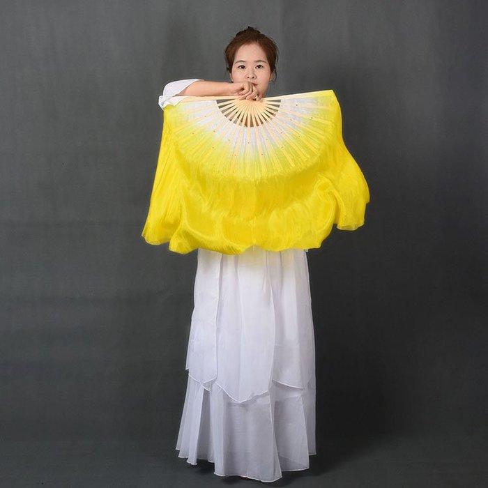 艾蜜莉舞蹈用品*舞蹈扇*真絲扇/加大舞蹈扇/表演飄扇/秧歌扇-黃色$500元