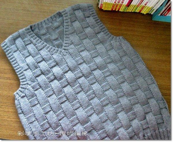 ☆彩暄手工坊☆男毛線背心材料包(V領格紋)~多色任選!手工藝材料、編織工具、進口毛線~
