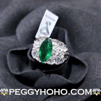 附IGI證書 (矜貴靚色欖尖型綠寶石))全新18K白金1卡43份天然綠寶石配1卡48份真鑽石戒指