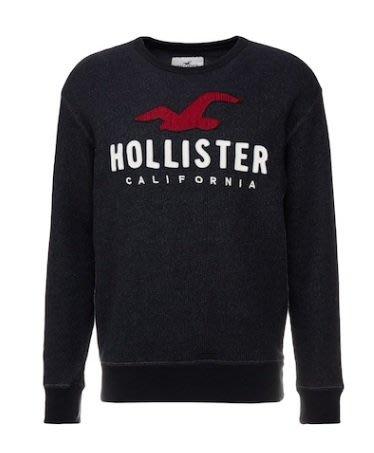 Hollister HCO 海鷗 車繡LOGO 針織 大學T 黑