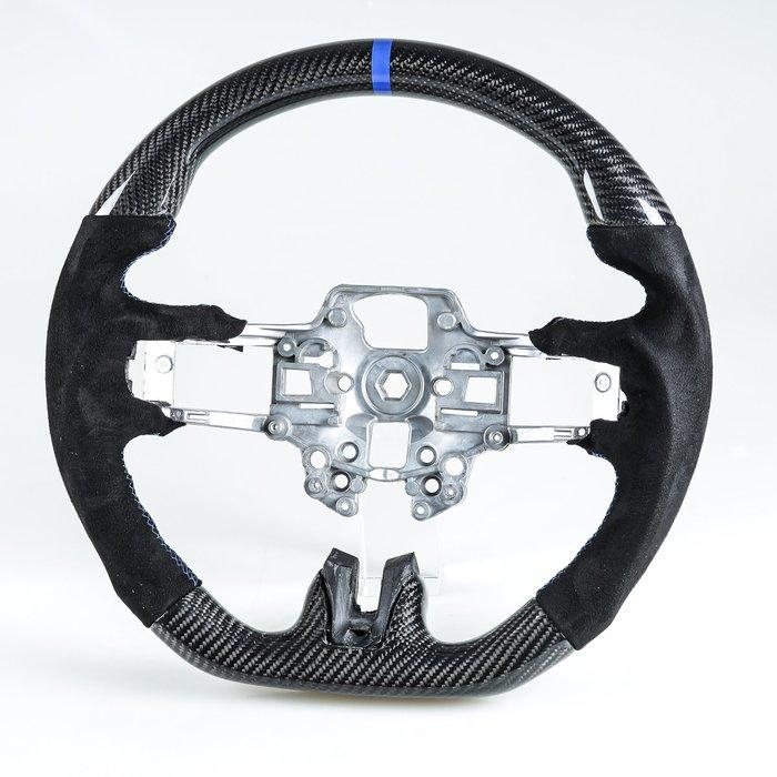 卡夢碳纖維+麂皮+藍環 方向盤 福特野馬Ford Mustang 用2019-2020年後期型(Facelift)適用
