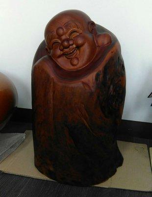 """""""知己知比"""" 唯一:紅豆杉:巧雕彌勒~雕刻名家:余春洲~有落款"""
