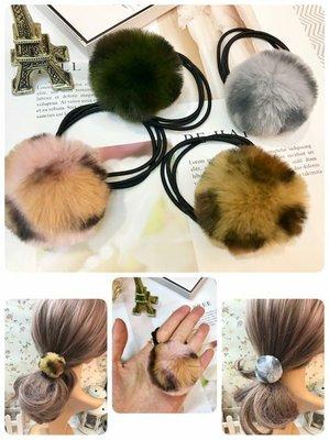 韓國手工空運 hen難得之不可思議豹紋毛束髮束 一組綠+灰+咖+粉各1~對,您沒看錯四顆毛球190