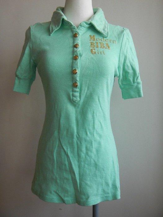 【甜心寶貝】Sweet Biba Girl 大地綠金釦polo舒柔長版短袖棉質衫