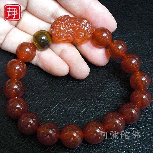 【靜心堂】紅瑪瑙*貔貅*虎眼石佛珠--招財(12mm*16顆)