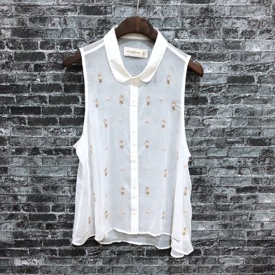 Maple麋鹿小舖 Abercrombie&Fitch * A&F雪紡紗無袖襯衫 * ( 現貨M號 )