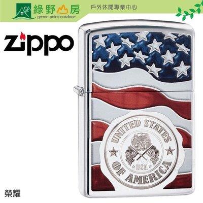 《綠野山房》Zippo煤油打火機 American Stamp on Flag 榮耀29395