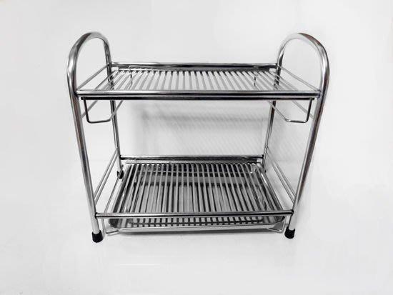 ☆成志金屬☆雙層平網式*不鏽鋼餐盤架/不銹鋼瀝水架碗盤架,此為小款之頁面