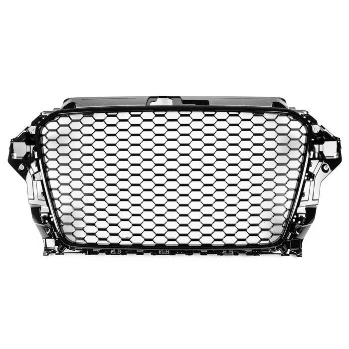 AUDI 奧迪 A3 S3 8V 13-16年 適用 RS3造型 水箱罩水箱護罩中網水柵 無倒車雷達- 亮光黑