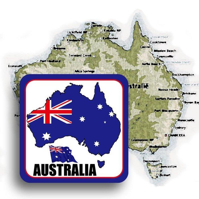 【衝浪小胖】澳洲國旗領土防水、抗UV登機箱貼紙/多尺寸、各國都有賣和客製/Australia/澳大利亞