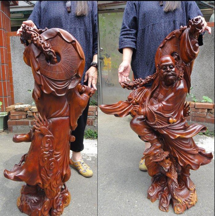 [福田工藝]舊藏品桂花木雕刻達摩祖師