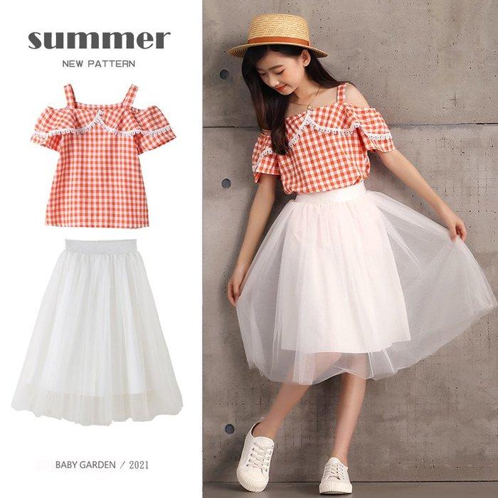 【TF5670】✿寶貝花園✿ 2021夏季新品 女童 中大童 格子衫+蓬蓬裙 二件套 套裝