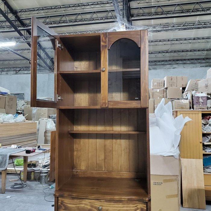 美生活館 訂製家具 鄉村風格 全紐西蘭松木 古銅色 雙玻璃門 書櫃 桌上櫃 展示櫃 收納櫃 也可搭配書桌使用