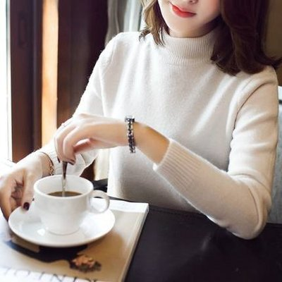 2016秋冬新款半高领针织打底衫纯色简约修身短款毛衣内搭女