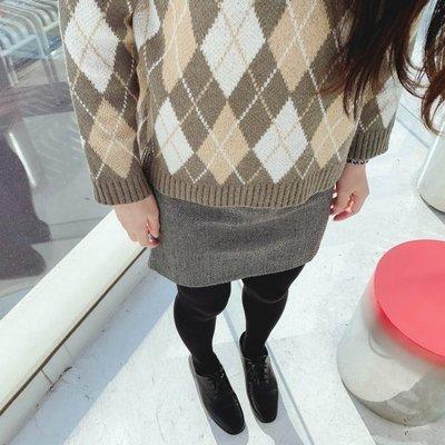 【ZEU'S】韓國秋裝新款毛呢高腰短裙『 11119922 』【現+預】K