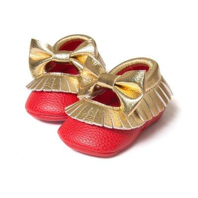 鞋鞋樂園-軟底-金紅雙色流蘇不掉鞋-學...