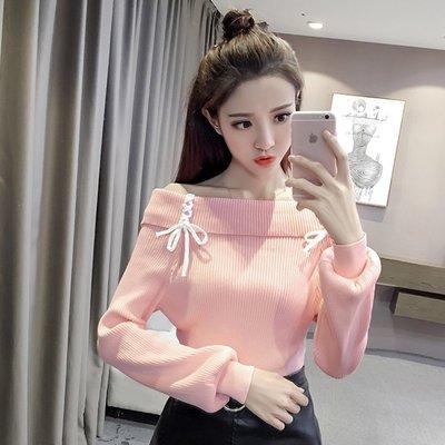 秋冬新款韩版灯笼袖套头毛衣女性感一字领露肩长袖针织打底衫上衣