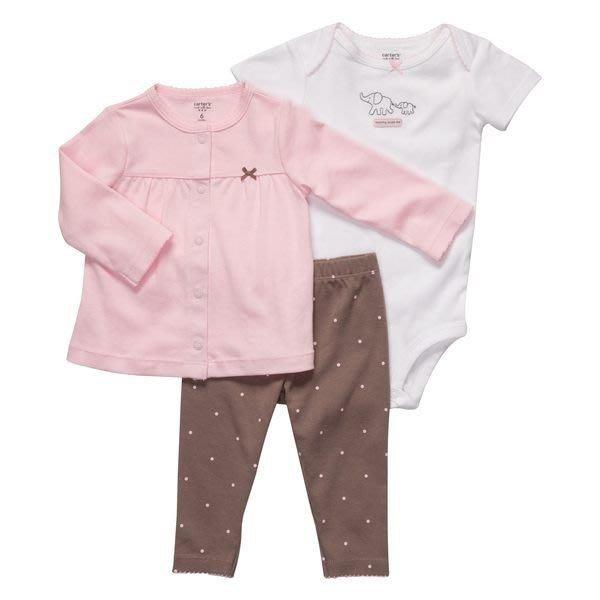 【Ns】Carters女童粉色長袖外套+短袖包屁衣+長褲三件組 彌月/生日禮 *另有Old Navy/OshKosh