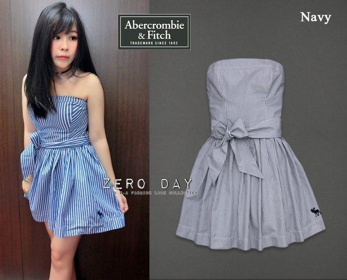 【零時差】A&F Abercrombie&Fitch Fiona dress經典直條紋平口附綁帶氣質洋裝-藍尾牙春酒禮服