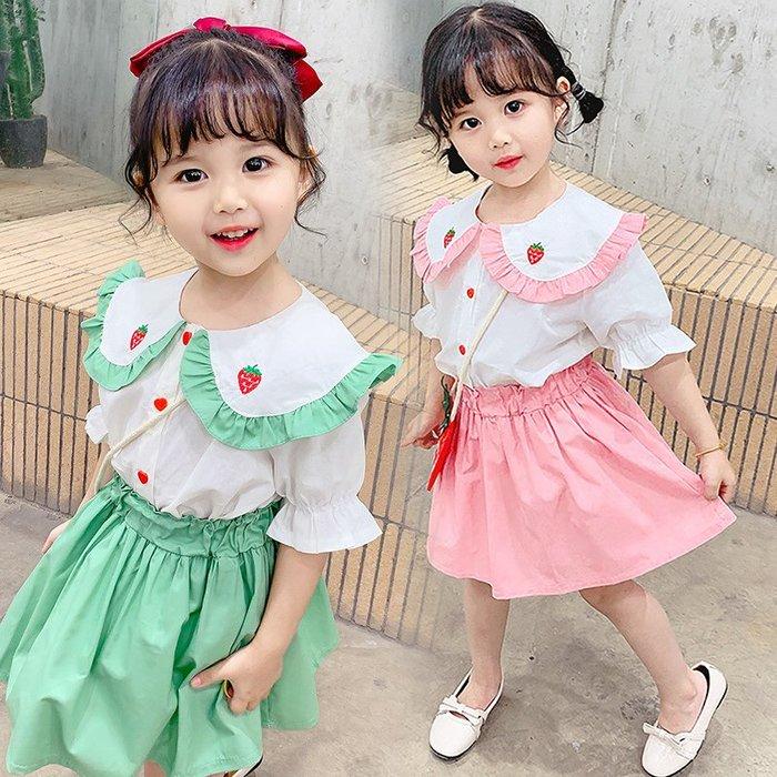 •*~ 辣媽咪衣飾小舖 ~*•❤童裝系列❤K850427韓版兒童夏款甜美萌款可愛娃娃領短袖襯衫+短裙二件套