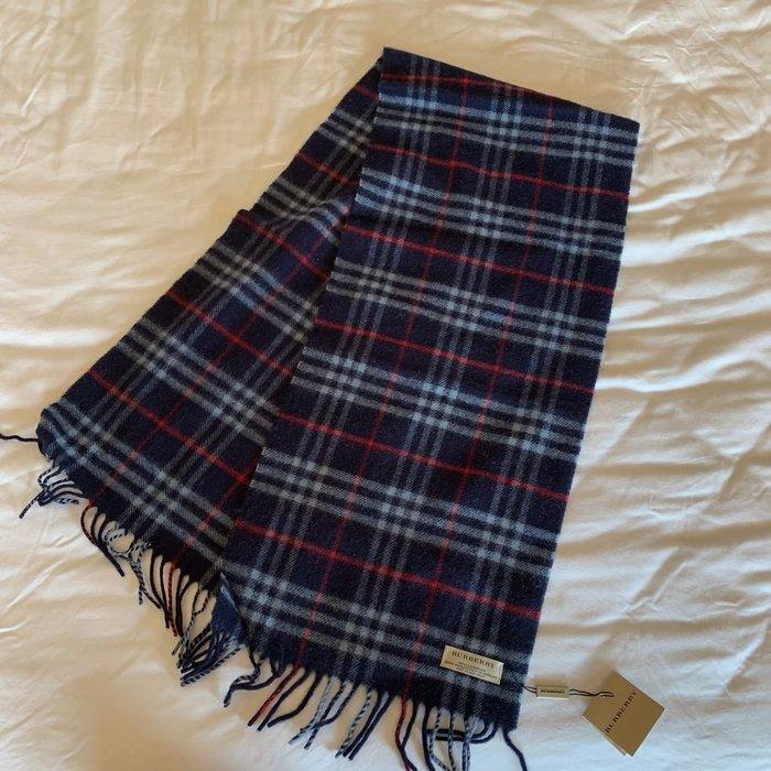 全新 Burberry 深藍 格紋 羊毛圍巾 生日禮物 情人節禮物