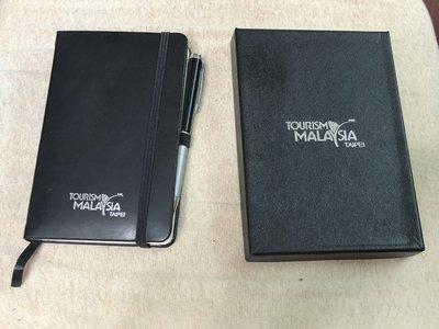 【李歐的二手皮件】全新未使用過稀有 非LV 萬寶龍 馬來西亞觀光局  黑色牛皮真皮  記事本下標就賣
