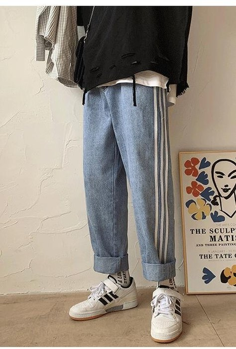 FINDSENSE X 男士 休閑長褲 寬松 條紋牛仔褲