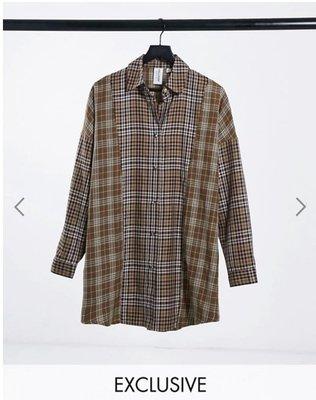 (嫻嫻屋) 英國ASOS-COLLUSION 格紋襯衫領洋裝 SK20291