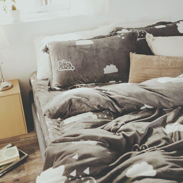 法蘭絨 5尺/標準雙人鋪棉床包被套組【朵朵】絲薇諾