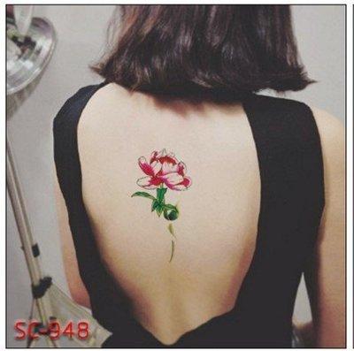 【萌古屋】整支紅花大圖 - 男女防水簡約紋身貼紙刺青貼紙SC-948 K02
