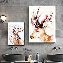 北歐簡約抽像水彩麋鹿裝飾畫畫芯夢幻鹿頭客廳沙發背景(3款可選)