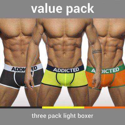 【ADDICTED 】三件組經典款LOGO標誌四角褲  AD性感立體平口內褲-AD403P《Men Style》