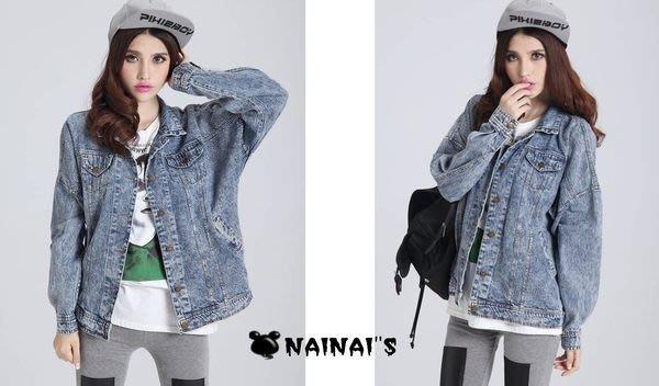 【NAINAIS】Sophia‧9943 韓版 韓妞穿搭BF男友風 水洗刷舊寬鬆雪花牛仔外套 預